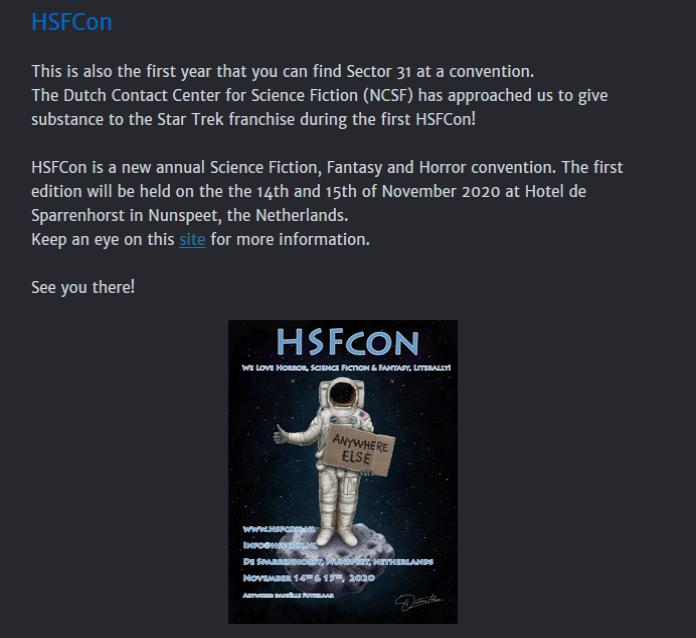 Starfleet Sector 31 newsletter Q1